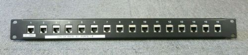 "16 Port Cat5/Cat6 Rackmount Patch Panel 1U 19"" Feed-Though RJ45 Ethernet Black"
